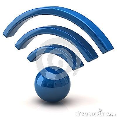3d蓝色wifi图标的例证