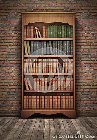 老书架在屋子里 库存照片