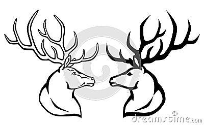 鹿与少女手绘