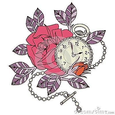 罗斯时钟纹身花刺设计