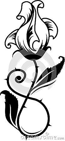 玫瑰纹身花刺的向量例证