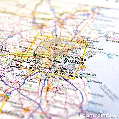 与跨境高速公路的高速公路地图在大市波士顿附近