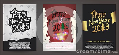 Set of happy new year 2019 greeting card Vector Illustration
