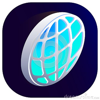 Earth vector isometric globe 3d icon right top view Vector Illustration