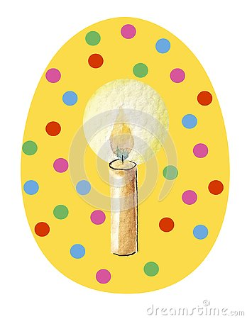 Yellow easter egg on a white background in multicolored circles with watercolor pattern in the middle - candle Stock Photo