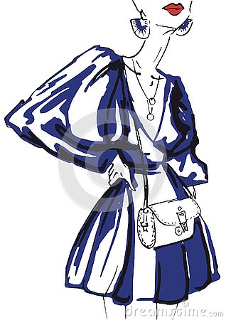 Fashion sketch of woman in blue dress and with red lips Stock Photo