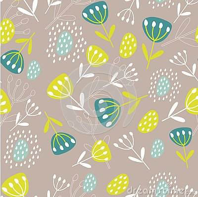 Original Botanical illustration. Tropical background with exotic plants. Seamless pattern with leaves and flowers. Print for fabri Cartoon Illustration
