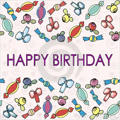 Patterns with bows, berries and candy for birthday Vector Illustration