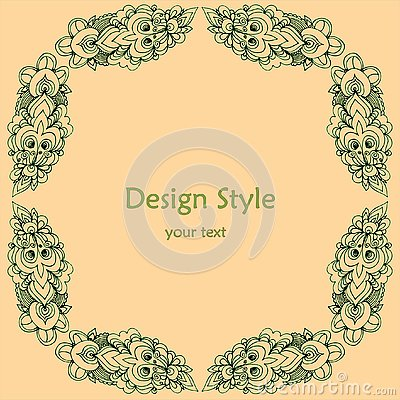 Frame of patterns around the text in pink and green colors Stock Photo