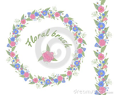 Vector floral brush and floral garland. Vector Illustration