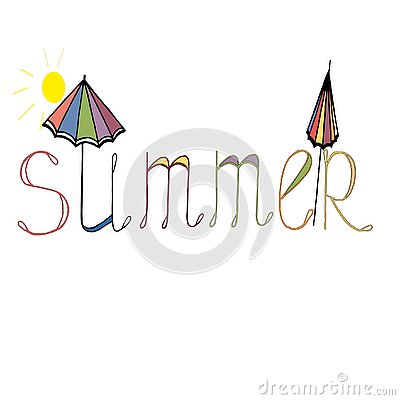 Печатьthe bright word summer with elements of an umbrella and the sun Stock Photo