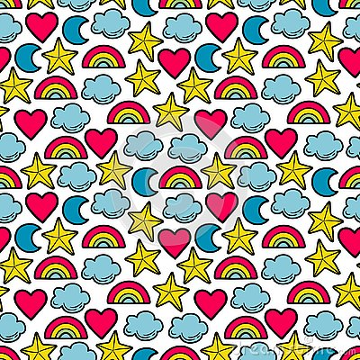 Seamless multi-colored pattern with stars, clouds, moon, rainbow. Vector Illustration