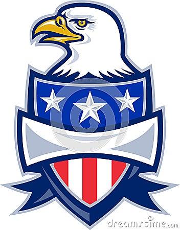 Águila calva americana con el blindaje