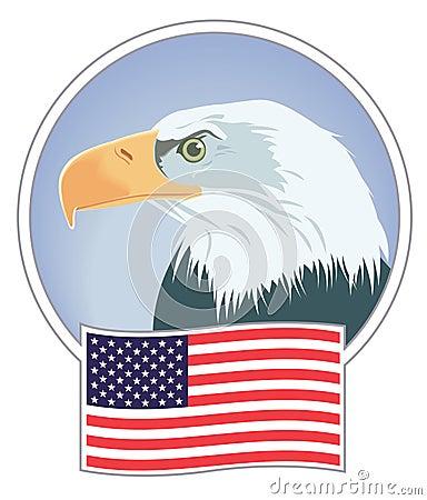 Águila calva y bandera