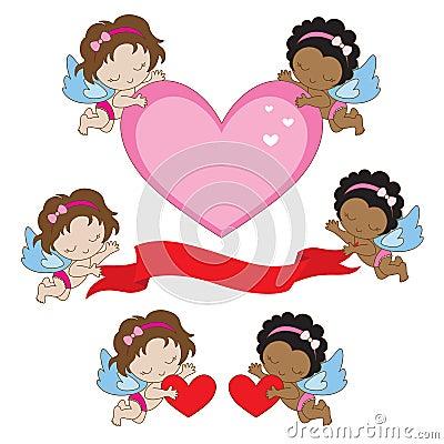 Ángeles de las tarjetas del día de San Valentín