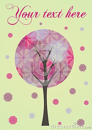 Árbol con la tarjeta/la ilustración de las flores