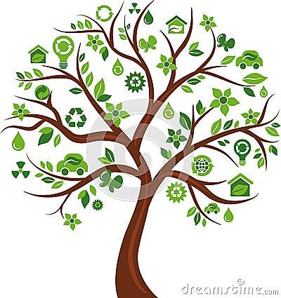 Árbol de los iconos del concepto de la energía de Eco - 3