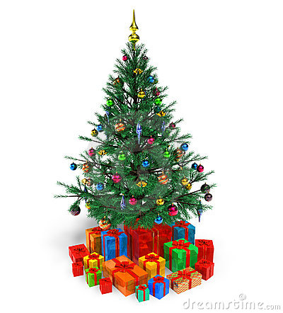 Árbol de navidad adornado con los regalos