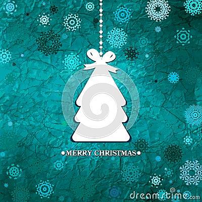 Árbol de navidad azul adornado. EPS 8