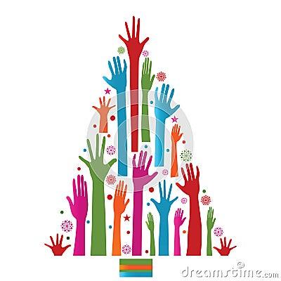 Árbol de navidad colorido de manos