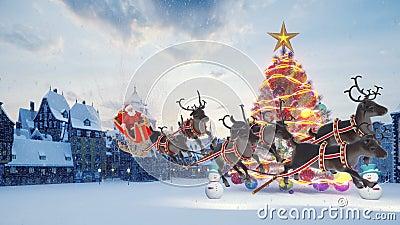 Árbol de Navidad con coloridas bolas de colores Santa Claus en trineo con renos navideños Hombres de nieve y Navidad y almacen de video