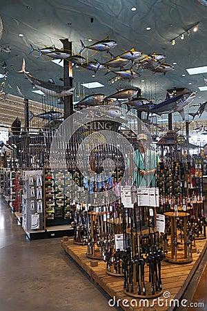 Área de pesca de Bass Pro Shop no hotel de Silverton em Las Vegas, Imagem Editorial