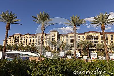 Área de piscina del centro turístico del rancho del valle verde en Las Vegas, nanovoltio el 2 de agosto Fotografía editorial