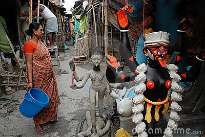 Área de tugurios de Kolkata Foto editorial