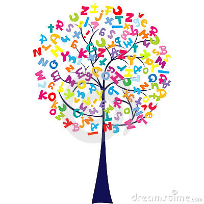 Árvore com letras do alfabeto