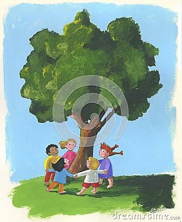 Árvore e crianças