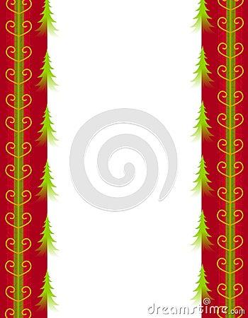 Árvores de Natal e beira vermelha da fita do ouro