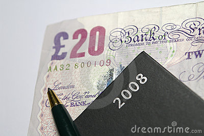 £20 Note With Diary and Pen
