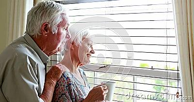 Ältere Paare, die heraus vom Fenster schauen stock video footage
