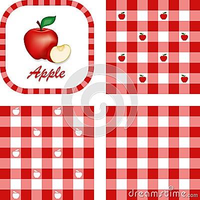 Äpfel u. Gingham-nahtlose Muster