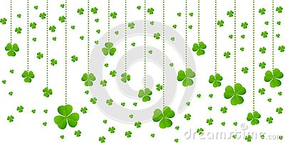 Greeting card with hanging green Lucky clover vector background border design Vector Illustration