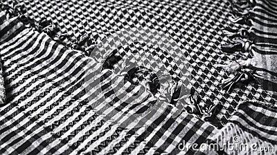 Środkowy wschód chequered czarny i biały keffiyeh z kitkami, zbliżenie zdjęcie wideo