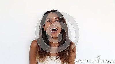 接近的画象千福年有吸引力妇女微笑 影视素材