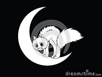 猫的简单的例证坐新月形月亮