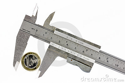 Één euro in een kalibermeter