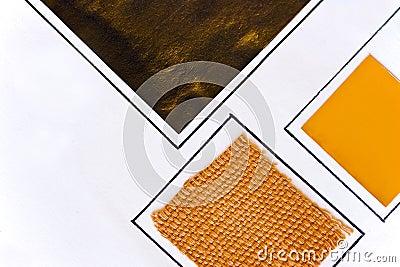Échantillons oranges et en bronze