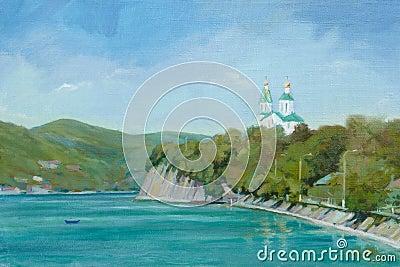 Église sur le bord de lac