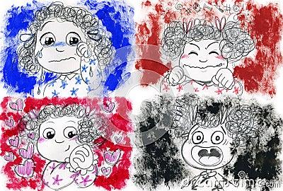 Émotions de petite fille