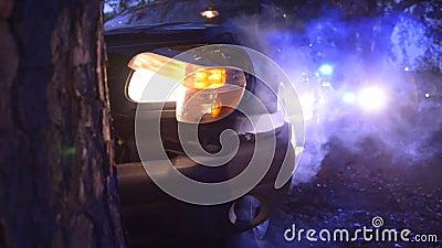 Épave de voiture dans l'arbre avec la police banque de vidéos