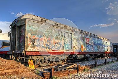 pave gar e de voiture de train avec le grafity dans le statio de train de santa fe photos. Black Bedroom Furniture Sets. Home Design Ideas