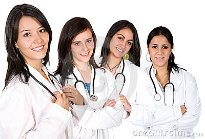 Équipe médicale avec des femelles seulement