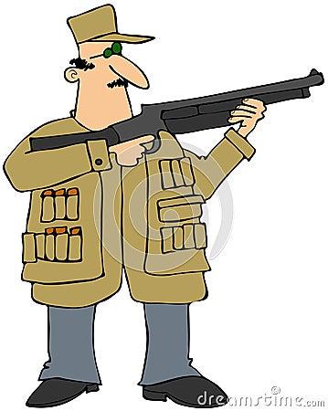 Équipez tirer un fusil de chasse