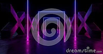 Étape rougeoyante au néon psychédélique Asphalt Cement Runge Concrete Columns cruciforme d'exposition de laser de pourpre bleu de illustration libre de droits