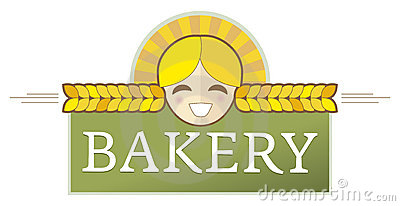 Étiquette de boulangerie avec la fille