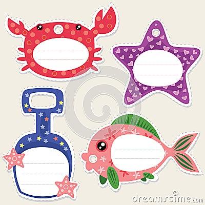 Étiquettes de cadeau de bord de la mer