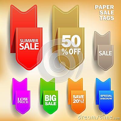 Étiquettes de papier de vente de vecteur